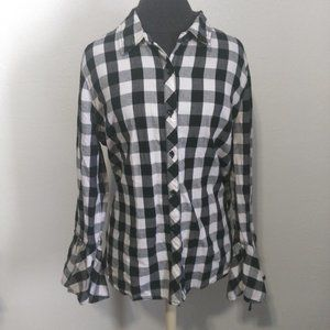 Bell Sleeve Buffalo Plaid Print Flannel Button Up